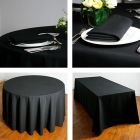 Black tablecloths square, rectangular & round