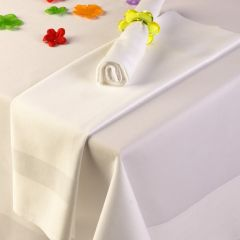 White Satin Band Tablecloths - Standard