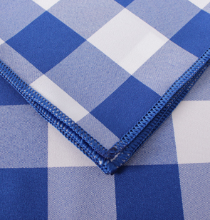 Navy Blue Gingham Check Overlock Hem
